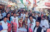 महंगाई यात्रा:युवक कांग्रेस ने जताया विरोध, ढाेल-ताशे से निकाला गैस सिलेंडर का जुलूस